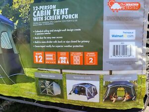 ozark trail 12 person cabin tent  with screened in front porch.