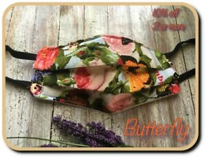 Handmade Face Mask*Nose Wire & Quilted Filter*3Layer Re-useable Butterfly Womens