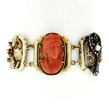 Antique Victorian 14k Gold & Silver Diamond Garnet Pearl & Coral Panel Bracelet