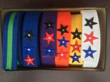 Lot of Karate Belts, White, Yellow, Orange, Purple, Blue, Blue w/ Green Stripe