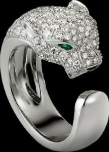 Panther Round Cut Diamond Emerald Wedding & Engagement Ring in Solid 925 SIlver