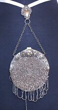 Antique Victorian Chatelaine silver beaded Purse REPOUSSE Frame leather inside