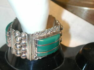 "Vintage Sterling Mexico wide hinged cuff green onyx 1 1/4 wide  7 1/4"" long"