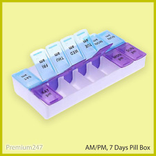 7 Day Large PILL BOX AM PM Holder Tablet Container Organiser Dispenser Storage