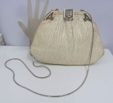 JUDITH LEIBER LEATHER PURSE IVORY DECO MARCASITE FRAME WITH MOONSTONE ESTATE