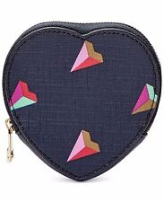 Fossil Heart Coin Zip Gem Leather NAVY BLUE Mini Wallet NEW NWT $45 SL6899745