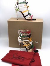 AUTHENTIC CHRISTIAN LOUBOUTIN NEW 36.GIRLISTRAPPI 100 CAGE MulticolorBOW BOOTIES