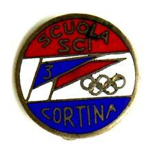 Spilla Scuola Sci 3 Cortina (Lorioli Fratelli Milano) cm.1,8
