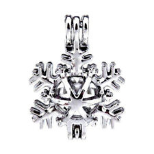 5pcs/lot Silver Christmas Snowflake DIY Locket Pendant Pearl Beads Cage K289