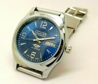 Citizen Automatic Men's Steel Blue Dial Day Date Vintage Japan Watch Run Order