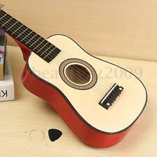 23'' Wooden Beginners Practice w/ 6 String Red Acoustic Guitar For Children Kids