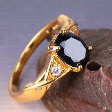 24k Gold Filled Black Sapphire Ring Size 5