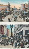 CC-042 CA, Los Angeles in 1880 and in the 1920's (today) White Border Postcard