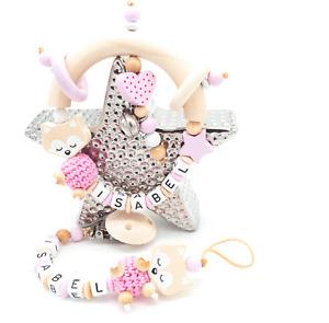 Schnullerkette mit Namen SET ♥ Träum Fuchs ♥ Häkelperle ♥ Baby Mädchen rosa Holz