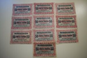 Lot, Germany Poland Lithuania POSEN 50 Kopeken 1916 WWI  10 pcs (L32)