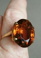 Fabulous Antique Design Vintage 9 ct Gold Topaz Glass Statement Ring size O