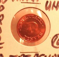 """UNCIRCULATED BRONZE PENNY SIZED """"D"""" MINT/PROOF SET MARKER COIN (62617)"""
