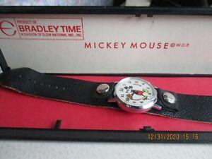 Antique Bradley Mickey Mouse Watch w/ Original Case Walt Disney Productions