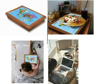 World Map Lap Tray With Bean Bag Soft Cushion Padded Breakfast Dinner TV LAPTOP