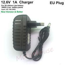 12.6V 1A EU Plug AC/DC Charger Adapter for 3S Lithium Li-ion 18650 Battery 11.1V