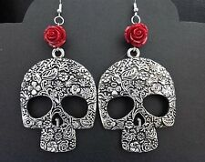 WOMENS EMO HANDMADE GOTHIC XL SILVER SUGAR SKULL DROP EARRINGS WITH RED ROSE