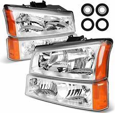 Headlight For 03 06 Chevy Silverado Avalanche Chrome Housing Clear Bumper Lamps Fits More Than One Vehicle