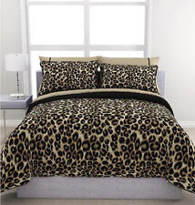 Cheetah Animal Print Black Brown Tan Reversible 5 piece Comforter Set Twin Size