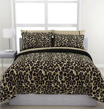 Cheetah Animal Print Black Brown Tan Reversible 7 piece Comforter Set Full Size