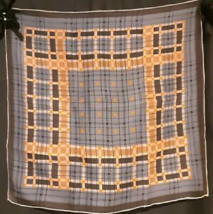 Vintage 1970's Sheer Vera Neumann Scarf w/ Geometric Grid Pattern (21 x 21)