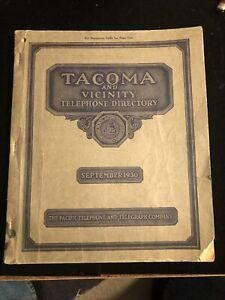 1930 Tacoma Washington And Vicinity Telephone Directory