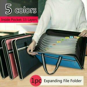 Expanding File Folder Organizer Documents Bags A4 Paper Holder 13 Pockets Green