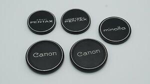 5 - VINTAGE METAL FRONT LENS CAPS LOT OF 5 CANON, PENTAX, MINOLTA