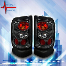 1994-2001 Dodge RAM 1500 2500 3500 Tail Lights Black Clear Lens Rear Lamps PAIR