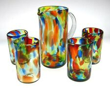 Mexican Glasses and matching pitcher, confetti swirl, hand blown (set of 4) 16oz
