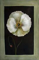 Modern Hand Painted Oil Painting Still Life with Poppy & Bud 24x36in