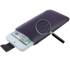 Funda iPHONE 5 4S 4 3GS 3G cuero MORADA PT5 LILA pull-up pouch leather case