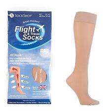 NEW Ladies 40 Denier Flight Travel DVT Compression Pop Socks Size 4-7 UK Natural