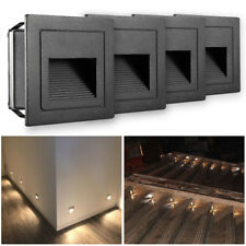 4 X 2W 230V LED Wandeinbauleuchte Stufenlicht Treppenlicht Alu Außen Warmweiß