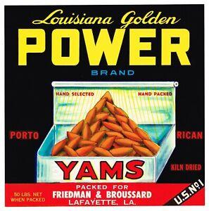 ORIGINAL CRATE LABEL YAM LOUISIANA VINTAGE SWEET POTATOES POWER LAFAYETTE 1950S