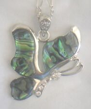 Necklace/Pendant Butterfly Abalone Shell new w/ chain & box rhinestone side view