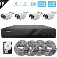 CTVISION 4-Channel 5MP PoE NVR, (4) x 5MP HD IP Camera Security System 2TB HDD