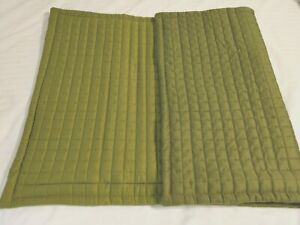 """CRATE & BARREL 1 KING QUILTED PILLOW SHAM PLAZA OLIVE GREEN 20"""" x 36"""" ZIPPER"""