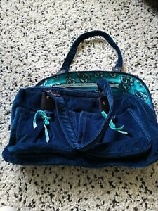Ollie And Nic Teal Cotton Velvet Hand Bag