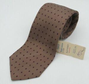 NEW Vtg Polo Ralph Lauren Beige Bronze Burgundy Polka Dots Foulard Silk Tie