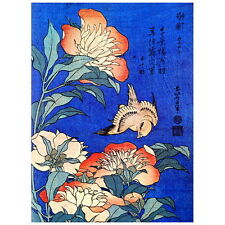 Peonies and Canary by Hokusai Deco FRIDGE MAGNET, Japanese Woodblock Ukiyo-e