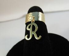 14Kt Gold Ep Dangle Initial R Toe Ring In A Hammered Ring
