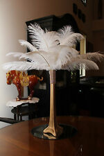 """Ostrich Feather Centerpiece with 16""""  Gold Eiffel Tower Vase (Gold Bling)"""