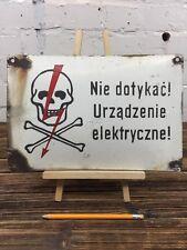 "Enamel Warning Sign ""High Voltage"" Made in Poland Vintage Industrial Plaque"