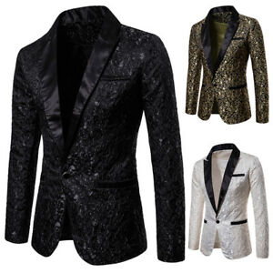 Fashion Men's Suit Coat Casual Slim Formal One Button Blazer Jacket Tops Casual