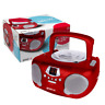 GROOV-E BOOMBOX PORTABLE CD PLAYER WITH RADIO AND HEADPHONE JACK - RED